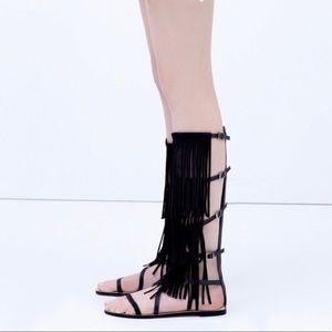 Zara fringe gladiator sandals Sz 38 NWT